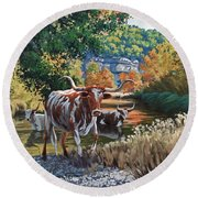 Lost Maples Watering Hole Round Beach Towel