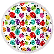 Lots Of Crayon Colored Ladybugs Round Beach Towel