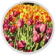 Lots Of Tulips Round Beach Towel