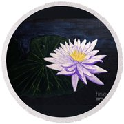 Lotus Blossom At Night Round Beach Towel