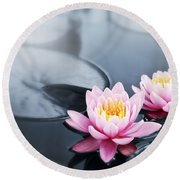 Lotus Blossoms Round Beach Towel