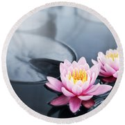 Lotus Blossoms Round Beach Towel