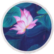 Lotus Round Beach Towel