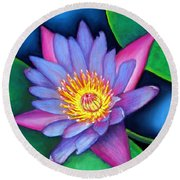 Lotus Divine Round Beach Towel
