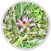 Lotus Flower Bloom In Pink 2 Round Beach Towel