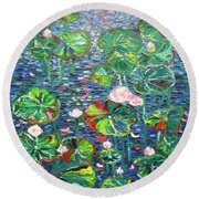 Lotus Flower Water Lily Lily Pads Painting Round Beach Towel