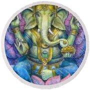 Lotus Ganesha Round Beach Towel