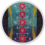 Lotus Garden Round Beach Towel