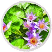 Lotus In Pond Round Beach Towel