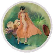 Lotus Maiden Round Beach Towel