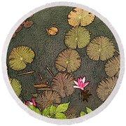 Lotus Pond Round Beach Towel
