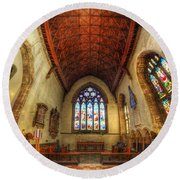 Loughborough Church - Altar Vertorama Round Beach Towel