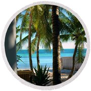 Louie's Backyard Round Beach Towel by Susanne Van Hulst