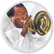 Louis Armstrong Round Beach Towel