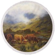 Louis Bosworth Hurt British 1856 - 1929 Highland Cattle Round Beach Towel