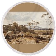 Louis Buvelot , At Ballan, 1876 Round Beach Towel