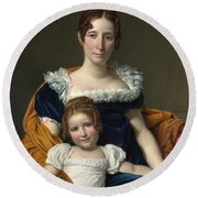 Louis David   Portrait Of The Comtesse Vilain Xiiii And Her Daughter Round Beach Towel