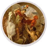 Louis Galloche - A Scene From The Life Of St. Martin Round Beach Towel