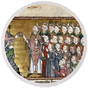 Louis Ix (1214-1270) Round Beach Towel