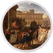 Louis Lafitte - Brutus Listening To The Ambassadors From The Tarquins Round Beach Towel