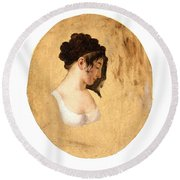 Louis-leopold Boilly - Profile Of A Young Womans Head Round Beach Towel