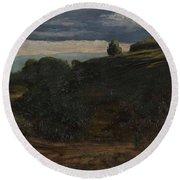 Louis Michel Eilshemius American 1864-1941 Summer Twilight, 1884 Round Beach Towel