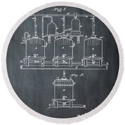 Louis Pasteur Brewing Beer And Ale Patent 1873 Chalk Round Beach Towel