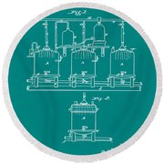 Louis Pasteur Brewing Beer And Ale Patent 1873 Green Round Beach Towel