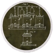 Louis Pasteur Brewing Beer And Ale Patent 1873  Grunge Round Beach Towel