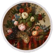 Louis Vidal, Still Life With Flowers And Fruit Round Beach Towel