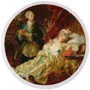 Louis Xv And Madame Dubarry Round Beach Towel