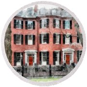 Louisburg Square Beacon Hill Boston Round Beach Towel