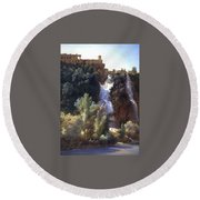 Louise-josephine Sarazin De Belmont  View Of The Falls At Tivoli Round Beach Towel