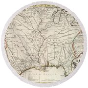 Map Of Louisiana And Of The River Mississippi Round Beach Towel