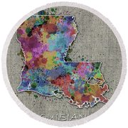 Louisiana Map Color Splatter 5 Round Beach Towel