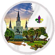 Louisiana Map - St Louis Cathedral Round Beach Towel
