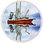 Louisiana Shrimp Boat 4 - Impasto Round Beach Towel