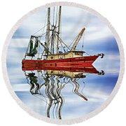 Louisiana Shrimp Boat 4 - Paint Round Beach Towel