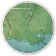 Louisiana State Usa 3d Render Topographic Map Border Round Beach Towel