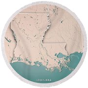 Louisiana State Usa 3d Render Topographic Map Neutral Border Round Beach Towel