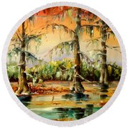 Louisiana Swamp Round Beach Towel