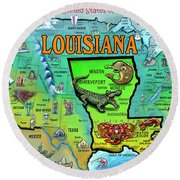Louisiana Usa Cartoon Map Round Beach Towel