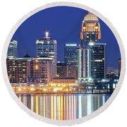 Louisville Kentucky Lights Round Beach Towel