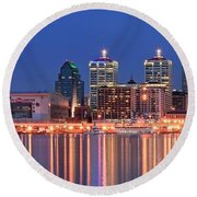 Louisville Panoramic At Blue Hour Round Beach Towel