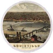 Louisville Vintage Map Round Beach Towel