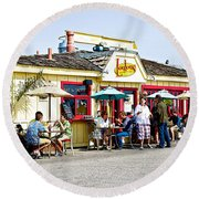 Loulou's On The Commercial Pier In Monterey-california Round Beach Towel