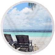 Lounge Chairs At The Beach In Maldives Round Beach Towel