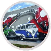 Lou's Filling Station Round Beach Towel