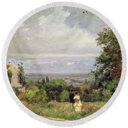 Louveciennes Round Beach Towel by Camille Pissarro