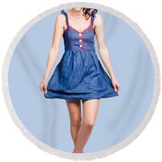 Lovable Eighties Female Pin-up In Denim Dress Round Beach Towel